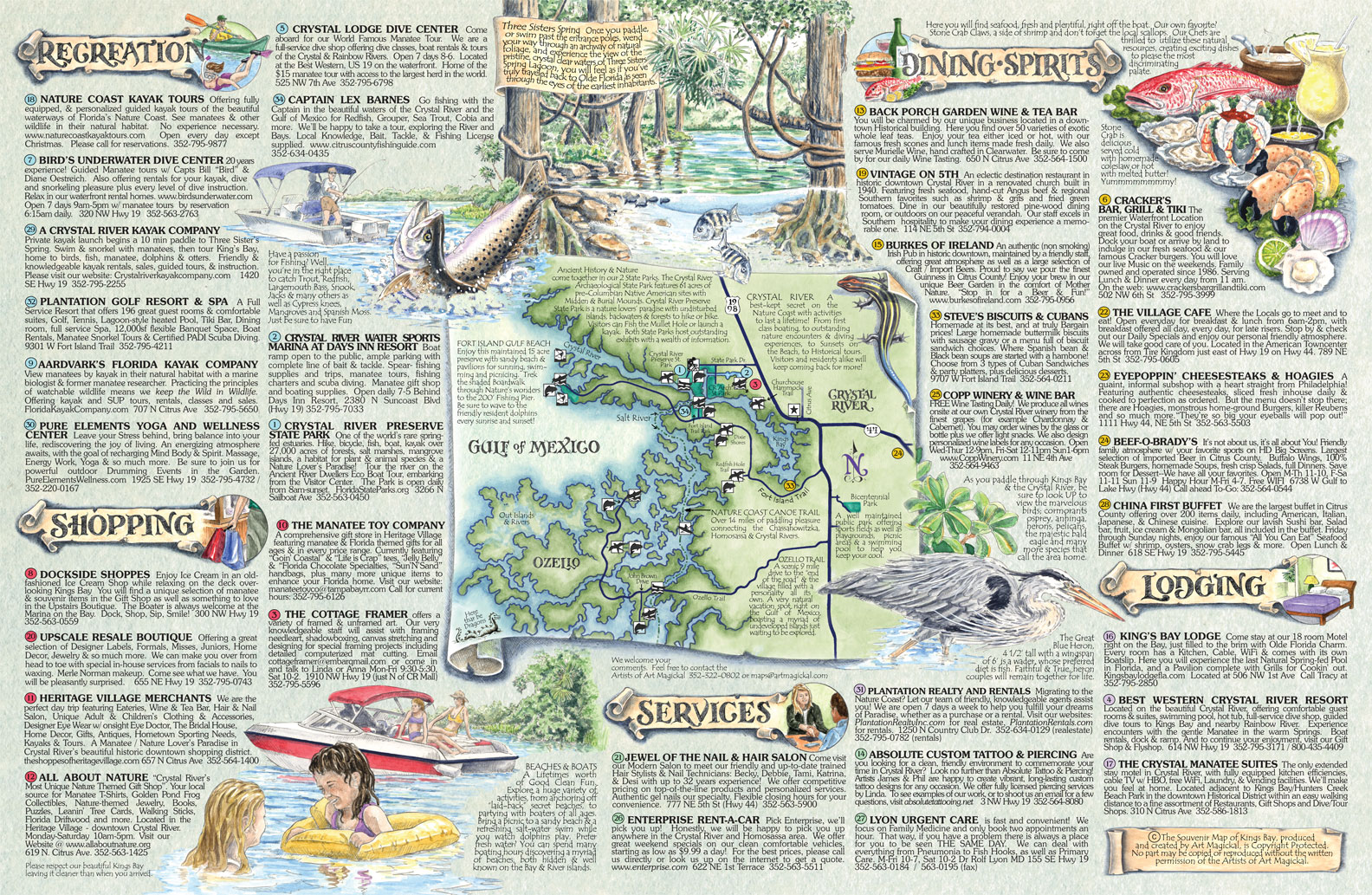 The Souvenir Map  Guide Of Kings Bay Fl - Florida map crystal river