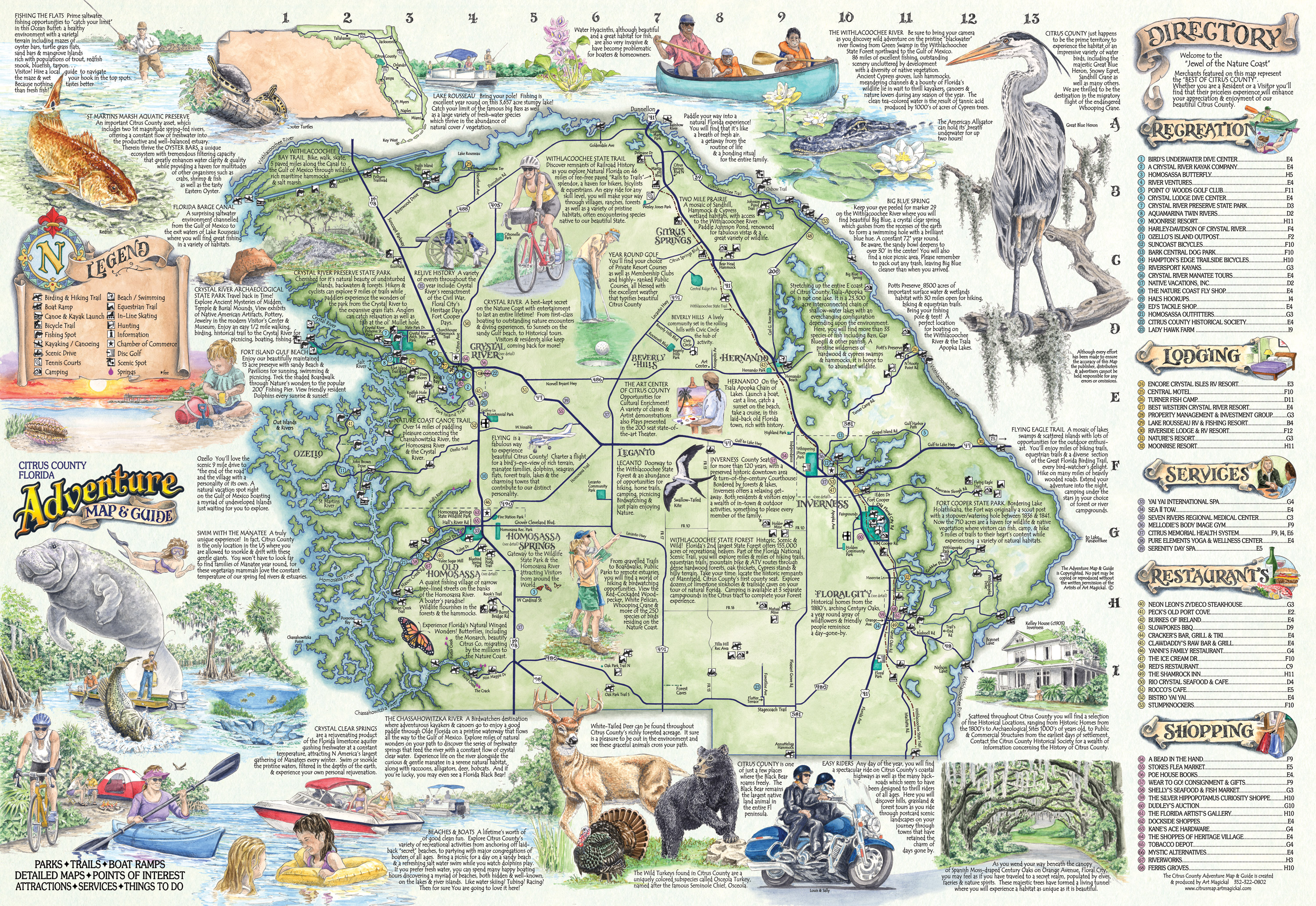 Florida Rivers Map.The Adventure Map Guide Of Citrus Co Fl